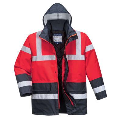 S466 - Hi-Vis Contrast Traffic kabát - Piros