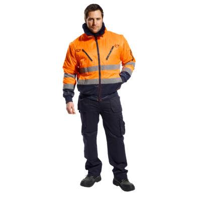 Jól láthatósági Pilóta dzseki narancs-tengerészkék