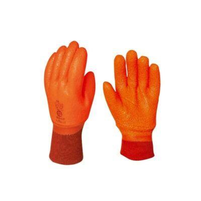Kesztyű narancs latex, saválló, vágásbiztos
